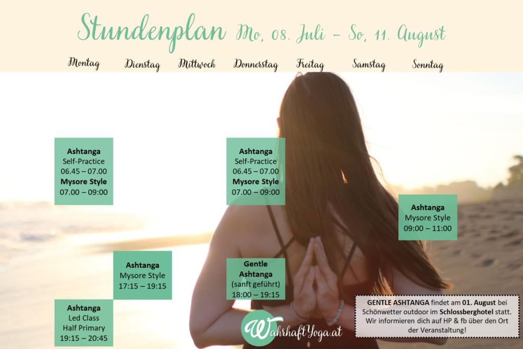 Stundenplan 08. Juli bis 11. August