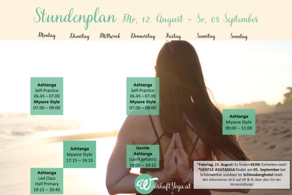 Stundenplan 12. August bis 08. September